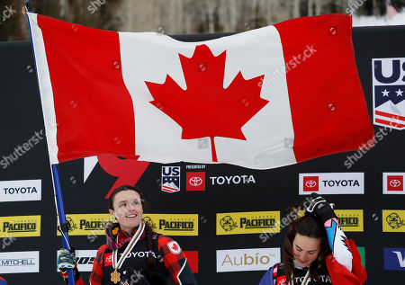 Marielle Thompson of Canada (L) celebrates winning the Ladies' Ski Cross competition next to Alizee Baron of France at Solitude Mountain Resort for the FIS World Championships in Solitude, Utah, 2 February 2019.