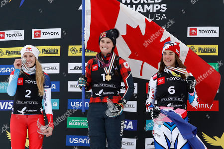 Fanny Smith of Switzerland, second place finisher (L), Marielle Thompson of Canada, first place finisher (C) and Alizee Baron of France celebrate after the Ski Cross competition at Solitude Mountain Resort for the FIS World Championships in Solitude, Utah, USA, 02 February 2019.