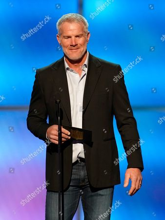 Former NFL player Brett Favre presents the moment of the year award at the 8th Annual NFL Honors at The Fox Theatre, in Atlanta