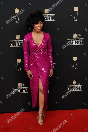 MJ Acosta arrives at the 8th Annual NFL Honors at The Fox Theatre, in Atlanta