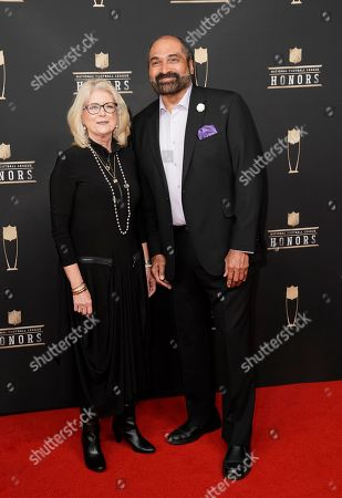 Dana Dokmanovich, Franco Harris. Former NFL player Franco Harris, right, and Dana Dokmanovich arrive at the 8th Annual NFL Honors at The Fox Theatre, in Atlanta