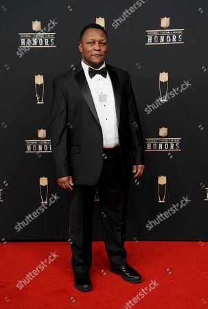Former NFL player Barry Sanders arrives at the 8th Annual NFL Honors at The Fox Theatre, in Atlanta