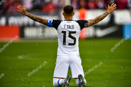 Costa Rica defender Francisco Calvo (15) before the international friendly soccer match between Costa Rica and the United States at Avaya Stadium in San Jose, California