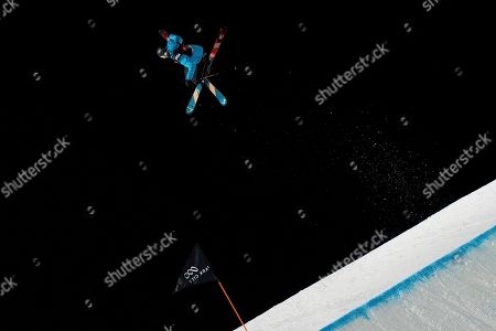 Britain's Isabel Atkin soars over the jump in the women's big air at the freestyle ski and snowboard world championships, Park City, Utah