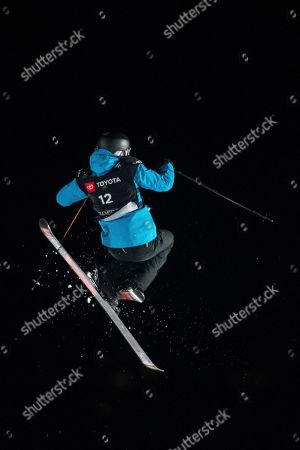 Britain's Isabel Atkin competes in the women's big air at the freestyle ski and snowboard world championships, Park City, Utah