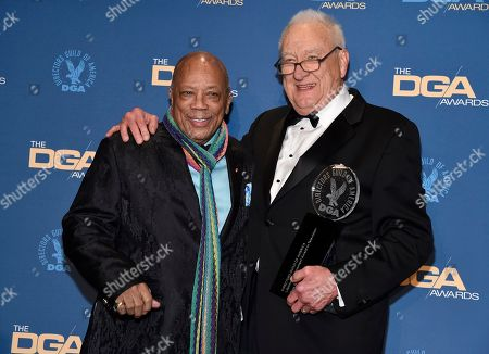 Quincy Jones, Don Mischer. Quincy Jones, left, poses with Don Mischer, winner of the Lifetime Achievement award at the 71st annual DGA Awards at the Ray Dolby Ballroom, in Los Angeles