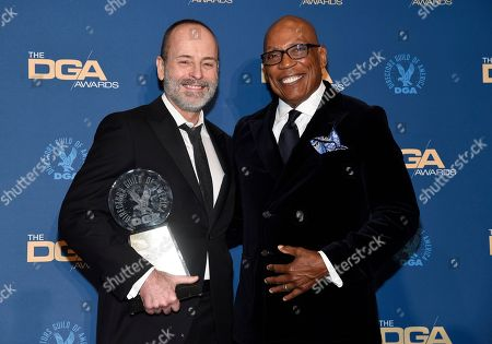 John Landgraf, Paris Barclay. FX Networks CEO John Landgraf, left, holds the Diversity Award which he accepted on behalf of FX Networks, as he poses in the press room with Paris Barclay at the 71st annual DGA Awards at the Ray Dolby Ballroom, in Los Angeles