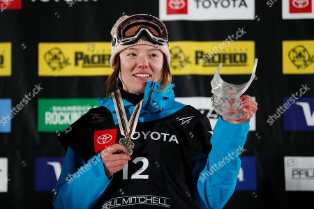 Stock Picture of Isabel Atkin of Britain, third place finisher, celebrates on the podium after the Ladies' Ski Big Air competition at Canyons Village at Park City Mountain Resort for the FIS World Championships in Park City, Utah, USA, 02 February 2019.