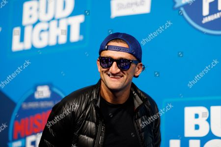Casey Neistat is seen on the blue carpet before Super Bowl LIII Music Fest on Super Bowl eve, in Atlanta
