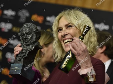 Susi Sanchez poses with ger Goya Award for the Best Actress for her role in the film 'La enfermedad del domingo' (lit: Sunday's Sickness) during the 33rd Goya Awards gala celebrated at the Conference Center, in Seville, southern Spain, 02 February 2019 (issued 03 February 2019).