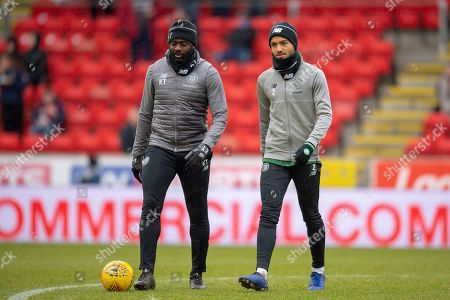 Jeremy Toljan (#2) of Celtic FC with Celtic coach Kolo Toure (left) during the warm up before the Ladbrokes Scottish Premiership match between St Johnstone and Celtic FC at McDiarmid Park, Perth