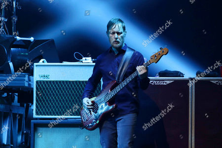 Nate Mendel with Foo Fighters performs during the DIRECTV Super Saturday Night at Atlantic Station, in Atlanta