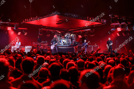 Stock Picture of Dave Grohl, Nate Mendel, Pat Smear, Taylor Hawkins, Chris Shiflett, Rami Jaffee. Dave Grohl, Nate Mendel, Pat Smear, Taylor Hawkins, Chris Shiflett and Rami Jaffee with Foo Fighters performs during the DIRECTV Super Saturday Night at Atlantic Station, in Atlanta