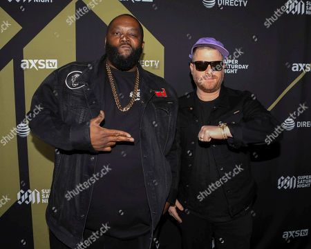 El-P, Killer Mike. El-P and Killer Mike with Run the Jewels arrives during the DIRECTV Super Saturday Night at Atlantic Station, in Atlanta