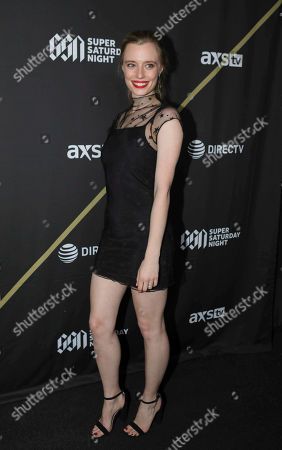 Anja Savcic arrives during the DIRECTV Super Saturday Night at Atlantic Station, in Atlanta