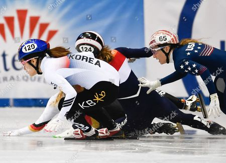 Rianne de Vries (C) of Netherlands crashes next to Kim Ji Yoo (L) of South Korea and Kristen Santos of USA during the women's 100m semi final at the ISU World Cup Short Track Speed Skating in Dresden, Germany, 03 February 2019.