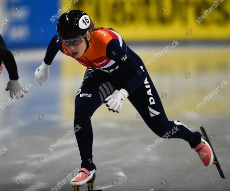 Lara van Ruijven of Netherlands in action during the women's 500m final at the ISU World Cup Short Track Speed Skating in Dresden, Germany, 02 February 2019.