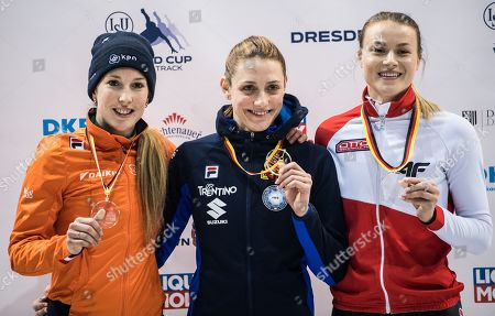 (L-R) Second placed, Lara van Ruijven of Netherlands, first palced, Martina Valcepina of Italy  and third placed Natalia Maliszewska of Polandpose with medals after the women's 500m final at the ISU World Cup Short Track Speed Skating in Dresden, Germany, 02 February 2019.