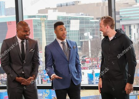 Harry Kane talks to Osi Umenyiora and Jason Bell ahead of the Super Bowl LIII, his first ever NFL game in the USA
