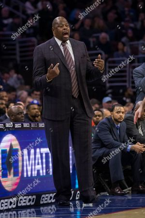 Georgetown Hoyas head coach Patrick Ewing reacts during the NCAA basketball game between the Georgetown Hoyas and the Villanova Wildcats at the Wells Fargo Center in Philadelphia, Pennsylvania