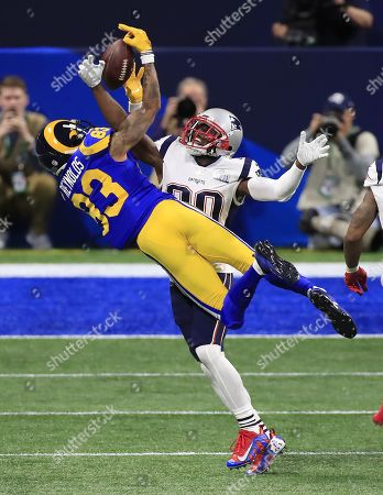 New England Patriots cornerback Jason McCourty (R) breaks up a pass intended for Los Angeles Rams wide receiver Josh Reynolds (L) in the second quarter of Super Bowl LIII between the New England Patriots and the Los Angeles Rams at Mercedes-Benz Stadium in Atlanta, Georgia, USA, 03 February 2019.