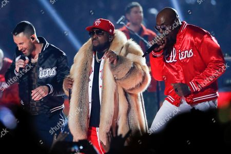 Rapper Big Boi (C), Maroon 5's Adam Levine (L) and Sleepy Brown (R) perform during the half time show of Super Bowl LIII between the New England Patriots and the Los Angeles Rams at Mercedes-Benz Stadium in Atlanta, Georgia, USA, 03 February 2019.