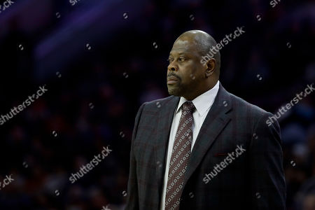 Georgetown head coach Patrick Ewing in action during an NCAA college basketball game against Villanova, in Philadelphia