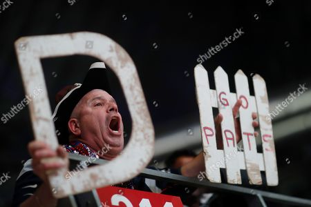 John McDonald cheers during the second half of the NFL Super Bowl 53 football game between New England Patriots and the Los Angeles Rams, in Atlanta