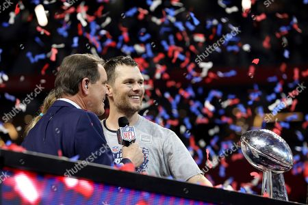 New England Patriots quarterback Tom Brady is interviewed by Jim Nantz after defeating the Los Angeles Rams during NFL Super Bowl 53, in Atlanta. The Patriots won 13-3