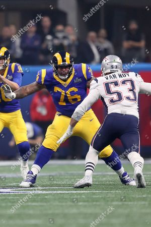 Los Angeles Rams Rodger Saffold III in action against the New England Patriots during NFL Super Bowl 53, in Atlanta. The Patriots won 13-3