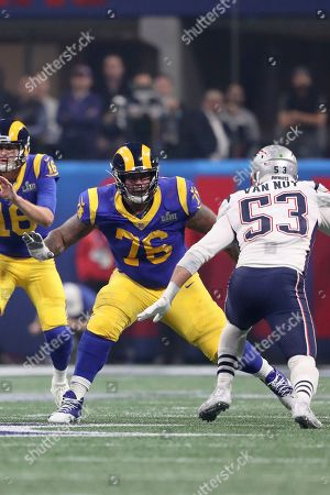Los Angeles Rams Rodger Saffold III #76 in action against the New England Patriots during NFL Super Bowl 53, in Atlanta. The Patriots won 13-3