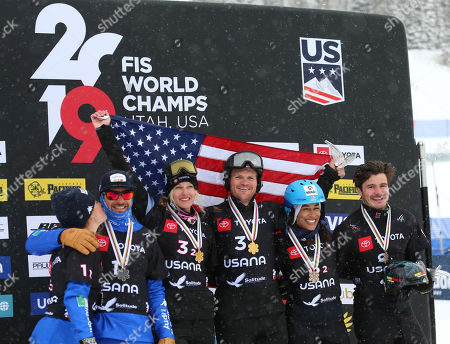 Mick Dierdorff and Lindsey Jacobellis (C) from the USA, Omar Visintin and Michela Moioli (L) from Italy and Paul Berg and Hanna Ihedioha (R) for Germany celebrate their first, second and third place finish in the Snowboard Cross Team Mix competition at Solitude Mountain Resort for the FIS World Championships in Solitude, Utah, USA, 03 February 2019.