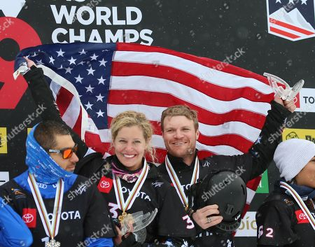Mick Dierdorff (R) and Lindsey Jacobellis (2-L) from the USA, celebrate their first place finish in the Snowboard Cross Team Mix competition at Solitude Mountain Resort for the FIS World Championships in Solitude, Utah, USA, 03 February 2019.
