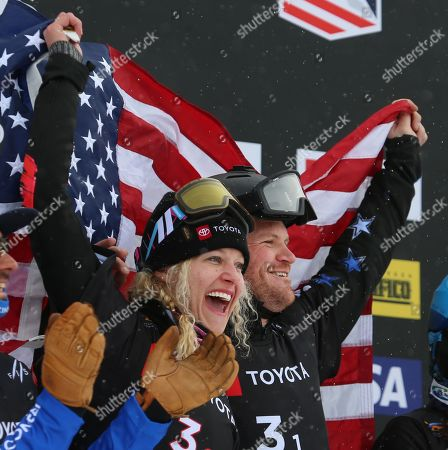 Mick Dierdorff and Lindsey Jacobellis (C) from the USA, celebrate their first place finish in the Snowboard Cross Team Mix competition at Solitude Mountain Resort for the FIS World Championships in Solitude, Utah, USA, 03 February 2019.