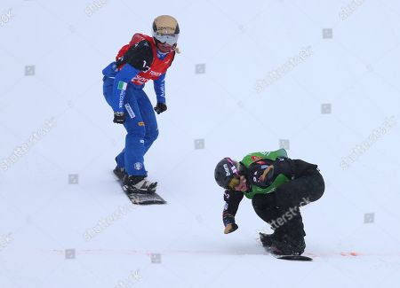 Lindsey Jacobellis (R) from the USA, crosses the line in first place as Michela Moioli from Italy comes in second in the Snowboard Cross Team Mix competition at Solitude Mountain Resort for the FIS World Championships in Solitude, Utah, USA, 03 February 2019.
