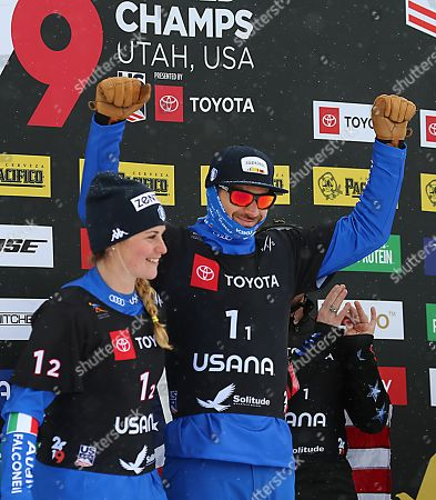 Omar Visintin (R) and Michela Moioli (L), from Italy celebrate their second place finish in the Snowboard Cross Team Mix competition at Solitude Mountain Resort for the FIS World Championships in Solitude, Utah, USA, 03 February 2019.