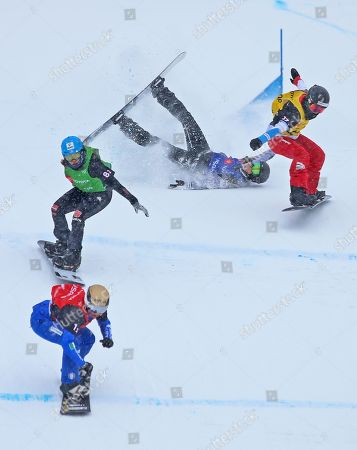 (L-R) Michela Moioli from Italy, Hanna Ihedioha from Germany, Carle Brenneman from Canada and Lara Casanova from Switzerland ski in the semifinals in the Snowboard Cross Team Mix competition at Solitude Mountain Resort for the FIS World Championships in Solitude, Utah, USA, 03 February 2019.