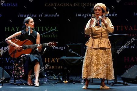 Stock Image of Colombian folk music singer Toto La Momposina (R) performs on stage at the close of the XIV Hay Festival in the Nelson Mandela neighborhood of Cartagena, Colombia, 03 February 2019.