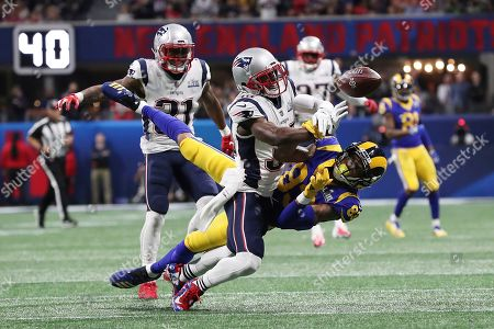Mike Smith. Los Angeles Rams wide receiver Josh Reynolds (83) has a pass knocked away by New England Patriots Jason McCourty (30) during NFL Super Bowl 53, in Atlanta. The Patriots defeated the Rams 13-3