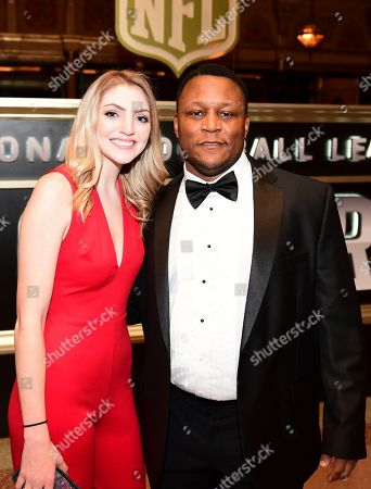 Stock Image of Former NFL player Barry Sanders, right, attends the 8th Annual NFL Honors at The Fox Theatre, in Atlanta