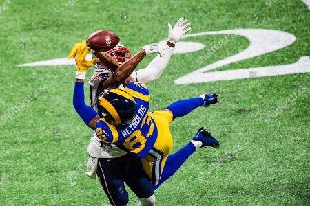 Los Angeles Rams wide receiver Josh Reynolds (83) and New England Patriots cornerback Jason McCourty (30) during Super Bowl LIII between the Los Angeles Rams and the New England Patriots on at Mercedes-Benz Stadium in Atlanta, GA