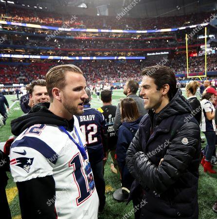 Harry Kane of Tottenham Hotspur meets Kaka, Brazilian retired professional footballer on the sidelines of Super Bowl LIII.