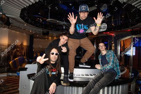 Eric Pedersen, Chris Carvajal, Mikey Carvajal, Andrew Fleming. Eric Pedersen, from left, Chris Carvajal, Mikey Carvajal, and Andrew Fleming of Islander pose on board the Carnival Valor during day 2 of the ShipRocked cruise on