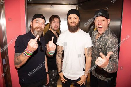 """Michael """"Padge"""" Paget, Jamie Mathias, Matthew """"Matt"""" Tuck, Jason Bowld. Michael """"Padge"""" Paget, from left, Jamie Mathias, Matthew """"Matt"""" Tuck, and Jason Bowld of Bullet For My Valentine pose on board the Carnival Valor during day 2 of the ShipRocked cruise on"""