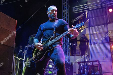 Clint Lowery of Sevendust performs on board the Carnival Valor during day 1 of the ShipRocked cruise on