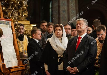 Ukrainian President Petro Poroshenko, right, and his wife Maryna Poroshenko, center, seen during the ceremony.
