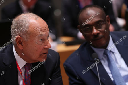 Stock Picture of Mohamed Ahmed Al Dirdiri, Nabil Elaraby. Arab League Secretary General Nabil Elaraby, left, talks to Sudan's Foreign Minister Mohamed Ahmed Al Dirdiri during an EU-Arab League ministerial meeting at the European Council headquarters in Brussels