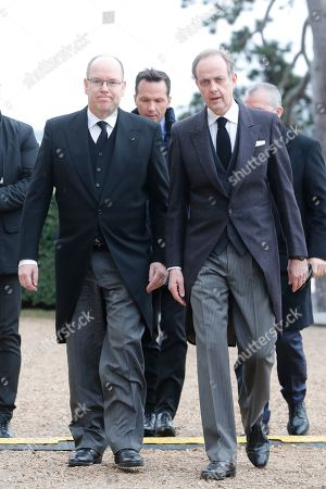 Prince Albert II of Monaco and Prince Henri d'Orleans, Prince Jean d'Orleans at the ceremony