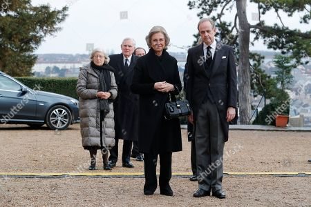 Former Queen Sofia and Prince Henri d'Orleans, Prince Jean d'Orleans at the ceremony