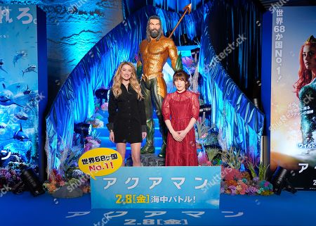 Amber Heard (L) and Japanese three-time Olympic freestyle wrestling champion Saori Yoshida (R) pose during the Japan premiere of 'Aquaman' in Tokyo, Japan, 04 February 2019. The movie will be screened across Japan from 08 February onwards.